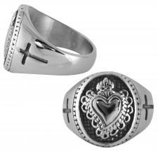 Men's Stainless Steel Burning Heart with Crosses Ring
