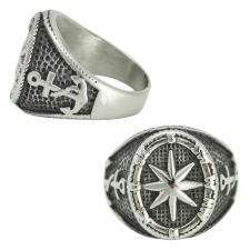 Men's Stainless Steel Nautical North Star Ring