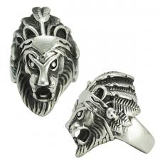 Stainless Steel Lion with Feather Crown Ring