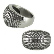 Stainless Steel Dotted Punk Designer Ring