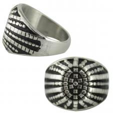 Men's Stainless Steel Segment Sunburst Ring