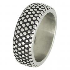 Stainless Steel Dotted Punk Fashion Ring