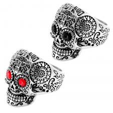 Stainless Steel Sugar Skull Biker Ring w/ Lt. Blue Eyes