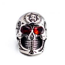 Stainless Steel Skull Biker Ring w/ Red Eyes