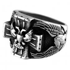 Stainless Steel Cross w/ Eagle Biker Ring