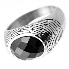 Retro Inspired Stainless Steel Mens Ring with Black Stone