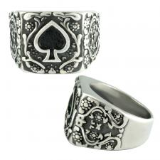 Stainless Steel Ring w/ Spade Design
