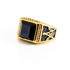 Stainless Steel Gold Pvd Masonic Ring w/ Onyx Stone