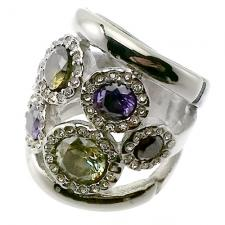 Vintage Ring in Stainless Steel with Color Stones