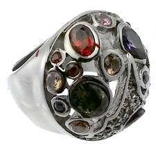 Round Vintage Ring with Color Stones