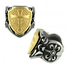 Stainless Steel Ring w/ Gold Pvd Shield & Cross Design