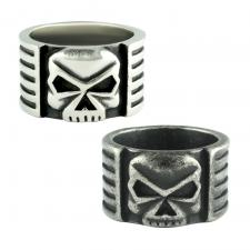 Stainless Steel Wide Ring w/ Skull