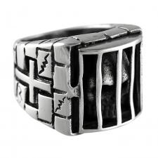 Stainless Steel Retro Gothic Punk Ring of a Skull in a Caged Jail Cell