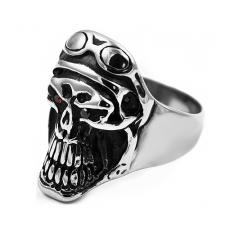 Stainless Steel Skull Ring with Motorcycle goggles and red eyes