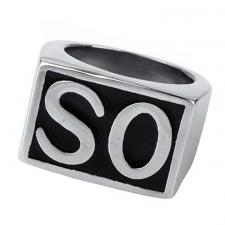 Stainless Steel Silver Signet SO Initial Biker Ring