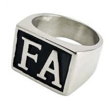Stainless Steel Signet FA Initial Biker Ring