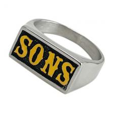 Stainless Steel SONS in Gold Motorcycle Biker Ring Gothic Harley Style