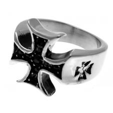Stainless Steel Maltese Cross Biker Ring w/ Jet Colored Stones