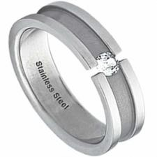Jeweled Stainless Steel Ring