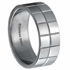 Stainless steel ring With Squares Design