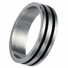 Stainless Steel Ring With Rubber Stripe