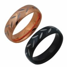 Stainless Steel Ring with Rose Gold or Black PVD Coating
