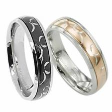 Wholesale Stainless Steel Ring with  Gold or Black Pvd And Etched Desgin