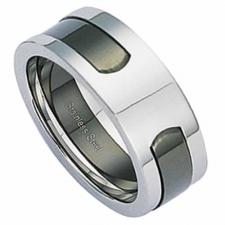 Beautiful Stainless Steel Two Part Puzzle Ring With Colored PVD