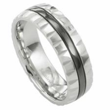 Wholesale Stainless Steel Ring with Black PVD Stripe and Carved Edges