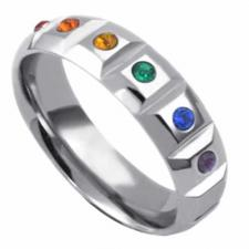 Stainless Steel Ring With Rainbow Stones Encrusted On It