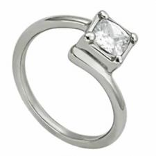 Stainless Steel Ring With Clear Cubic Zirconia Stone