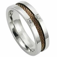 Stainless Steel Ring With Internal Coffee Color PVD Band and 2 Clear CZ Stones