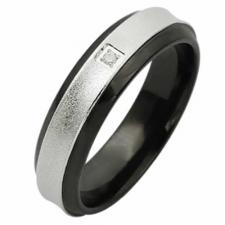 Sand Brushed Stainless Steel Ring With Black PVD and Small CZ