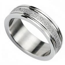 Steel color Sandblast Ring 6mm wide
