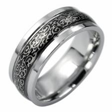 Elegant Stainless Steel Ring With Black PVD Design