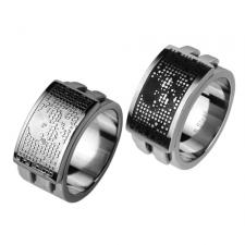 Stainless Steel Ring With Textured Skull Design