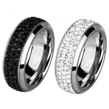 Stainless Steel Ring With Foiled CZ Stones