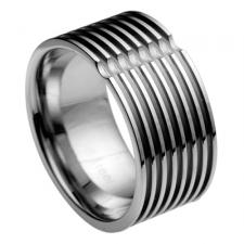 Modern Stainless Steel Ring With Horizontal Linear Design