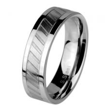 Neo-Classic Stainless Steel Ring With Brushed Steel Center And Etched Diagonal Lines