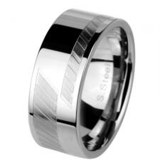 Neo-Classic Stainless Steel Ring With Etched Diagonal Lines