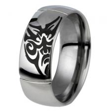 Stainless Steel Ring With Black Tribal Face Design