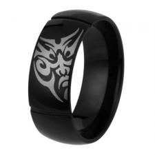 Stainless Steel PVD Black Coated Ring With Tribal Face Design