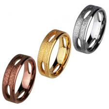 Stainless Steel Ring With Sandblast Textured Finish And Cut Out Design