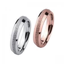 Stainless Steel, Ring, Sandblast, Shimmer, Finish, Rose Gold, Steel.