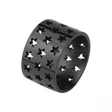 Black Steel Ring with Star Shape CutOut Pattern