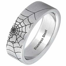 Stainless Steel Ring - Spider Web & Love Design