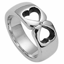 Stainless steel 2 Hearts ring