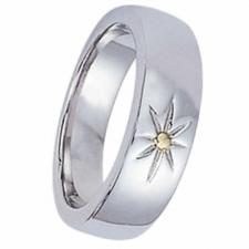 Stainless Steel Ring With Gold PVD Flower Design