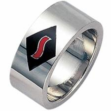 Stainless steel with Black Enamel Wave ring