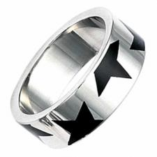 Stainless Steel Ring With Black Epoxy Design